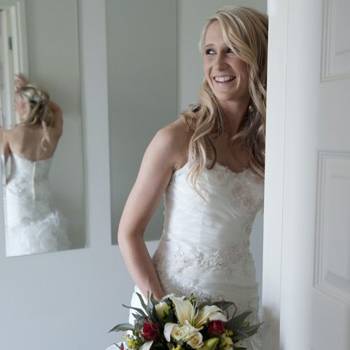 bride with professional makeup and hairstyling, for fresh natural appearance